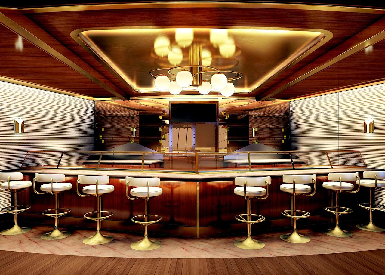 Wake, a 5,866-square-foot restaurant designed by AD100 firm Roman and Williams, offers Virgin's take on fine dining. Enter down a glamorous stair and take in views of the ship's wake from the luxurious wood-paneled dining area. Diners will feast on seafood (including an oyster bar), steak, and imbibe on drinks from a tableside cocktail cart.