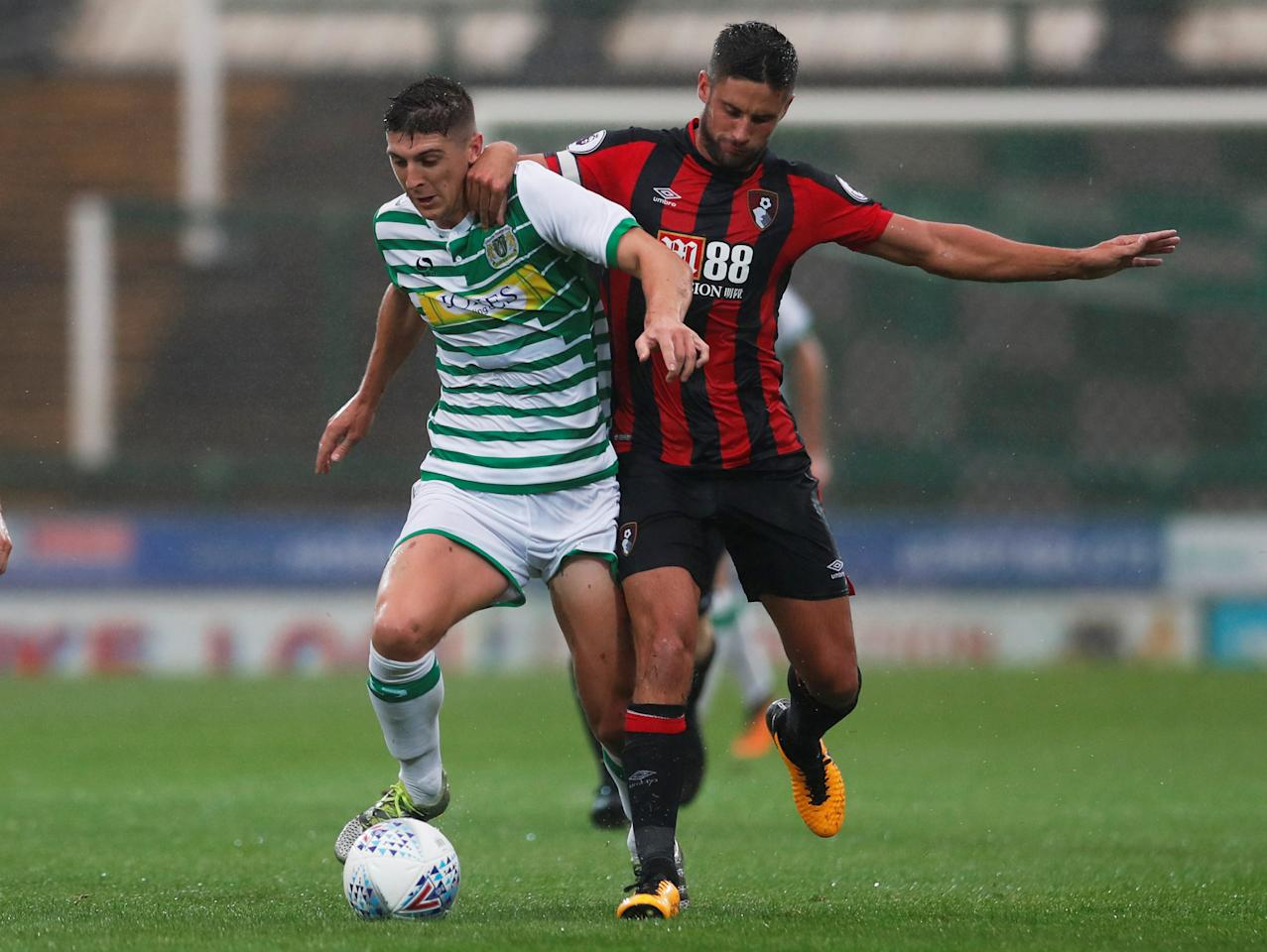 Soccer Football - Yeovil Town vs AFC Bournemouth - Pre Season Friendly - Yeovil, Britain - August 2, 2017   Bournemouth's Andrew Surman in action with Yeovil's Jake Gray   Action Images via Reuters/Andrew Couldridge  optaID:6t6o7a9am7ya7lfgyphilgcmh