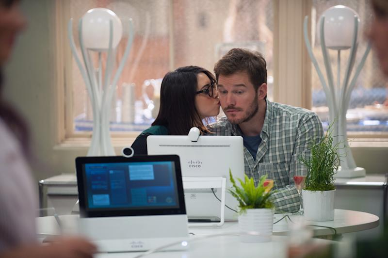 "PARKS AND RECREATION -- ""One Last Ride"" Episode 712/713 -- Pictured: (l-r) Aubrey Plaza as April Ludgate, Chris Pratt as Andy Dwyer -- (Photo by: Colleen Hayes/NBCU Photo Bank/NBCUniversal via Getty Images via Getty Images)"