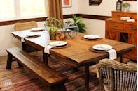 """<p>Believe it or not, this gorgeous dining room table was once the simple INGO. You'll have to get out the power tools for this hack, but the stunning result is well worth the effort.</p><p>See more at <a href=""""http://eastcoastcreativeblog.com/2014/01/ikea-hack-build-a-farmhouse-table-the-easy-way.html"""" rel=""""nofollow noopener"""" target=""""_blank"""" data-ylk=""""slk:East Coast Creative"""" class=""""link rapid-noclick-resp"""">East Coast Creative</a>.</p><p><a class=""""link rapid-noclick-resp"""" href=""""https://www.amazon.com/Minwax-220904444-Penetrating-Interior-Natural/dp/B001AHAJV2/?tag=syn-yahoo-20&ascsubtag=%5Bartid%7C2089.g.29514474%5Bsrc%7Cyahoo-us"""" rel=""""nofollow noopener"""" target=""""_blank"""" data-ylk=""""slk:BUY NOW"""">BUY NOW</a> <strong><em>Wood Stain, $5, <span class=""""redactor-unlink"""">amazon.com</span></em></strong></p>"""