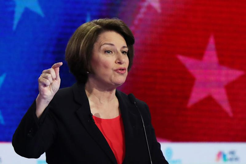 MIAMI, FLORIDA - JUNE 26: Sen. Amy Klobuchar (D-MN) speaks during the first night of the Democratic presidential debate on June 26, 2019 in Miami, Florida. A field of 20 Democratic presidential candidates was split into two groups of 10 for the first debate of the 2020 election, taking place over two nights at Knight Concert Hall of the Adrienne Arsht Center for the Performing Arts of Miami-Dade County, hosted by NBC News, MSNBC, and Telemundo. (Photo by Joe Raedle/Getty Images) | Joe Raedle—Getty Images