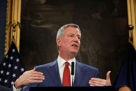 New York City Mayor Bill de Blasio speaks regarding the U.S. President Donald Trump's federal budget proposal at the City Hall in New York, U.S., March 16, 2017. REUTERS/Lucas Jackson