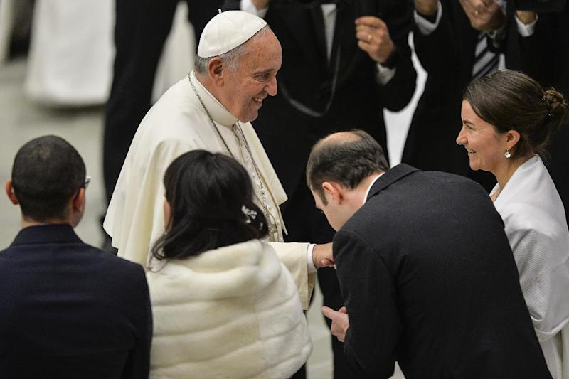 Pope Francis during his weekly general audience at the Aula Paolo VI hall at the Vatican on January 21, 2015
