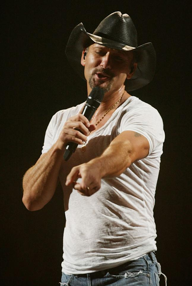 "Country music star Tim McGraw is in the middle of his first tour of Australia, where he gave a concert in Sydney on Tuesday. Don Arnold/<a href=""http://www.wireimage.com"" target=""new"">WireImage.com</a> - September 21, 2010"