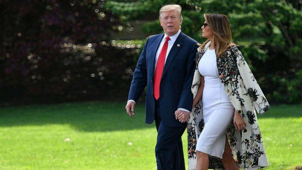 PHOTO: President Donald Trump and first lady Melania Trump walk together to board Marine One from the South Lawn of the White House in Washington, D.C., on April 18, 2019. (Mandel Ngan/AFP/Getty Images)