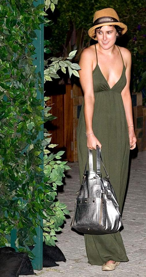 """We like Rumer Willis' olive green gown, but her accessories are just too much. Jean Baptiste Lacroix/<a href=""""http://www.wireimage.com"""" target=""""new"""">WireImage.com</a> - August 21, 2007"""