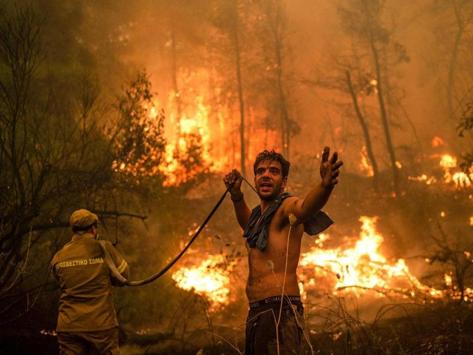 A local resident brandishes an empty water hose as he battles to extinguish forest fires approaching the village of Pefki on Evia (AFP/Getty)
