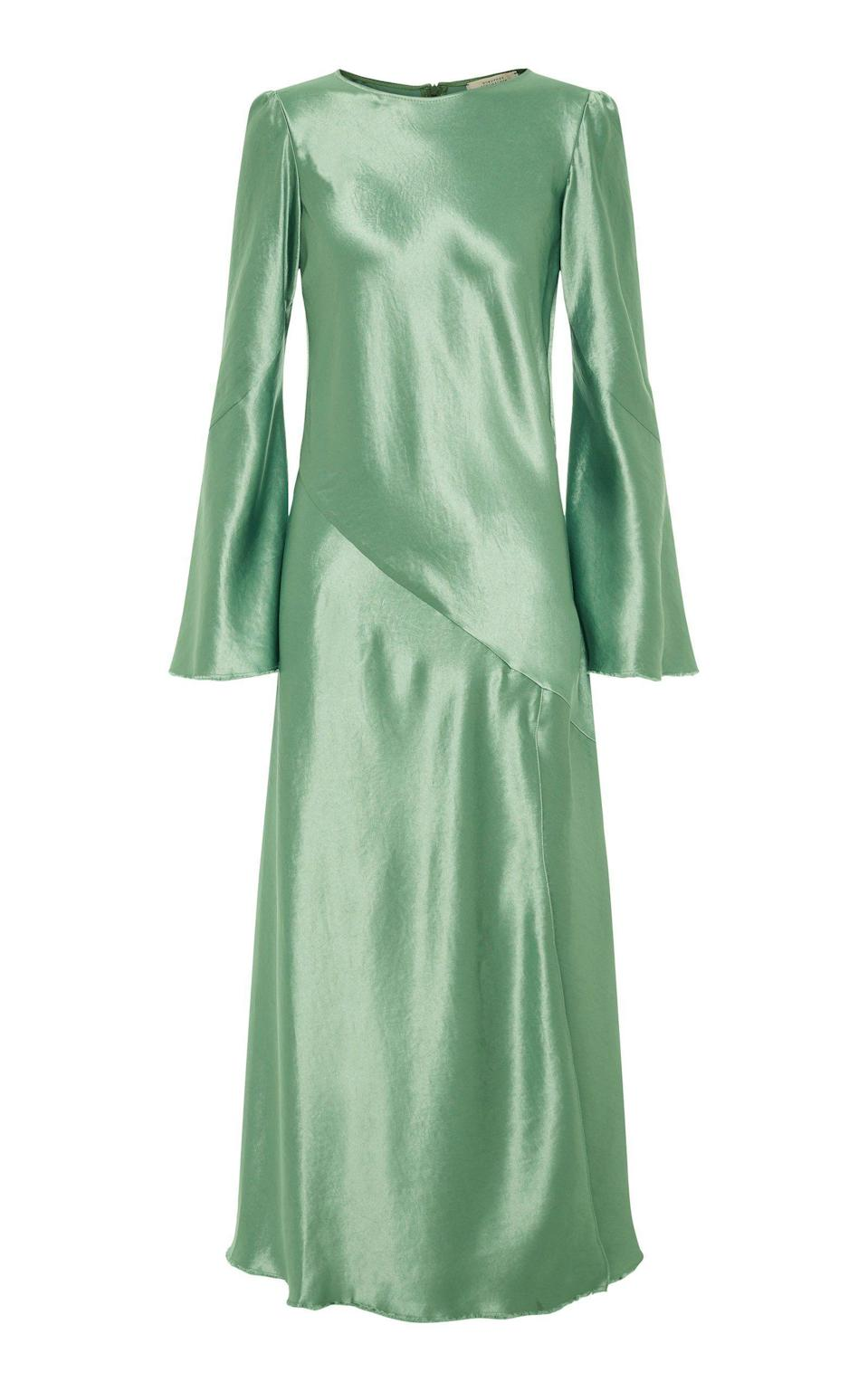 """<p><strong>Dorothee Schumacher</strong></p><p>modaoperandi.com</p><p><strong>$900.00</strong></p><p><a href=""""https://go.redirectingat.com?id=74968X1596630&url=https%3A%2F%2Fwww.modaoperandi.com%2Fwomen%2Fp%2Fdorothee-schumacher%2Fshiny-moves-satin-midi-dress%2F500918&sref=https%3A%2F%2Fwww.harpersbazaar.com%2Fwedding%2Fbridal-fashion%2Fg36750122%2Fbest-mother-of-the-groom-dresses%2F"""" rel=""""nofollow noopener"""" target=""""_blank"""" data-ylk=""""slk:SHOP NOW"""" class=""""link rapid-noclick-resp"""">SHOP NOW</a></p><p>Mother-of-the-groom (or <a href=""""https://www.harpersbazaar.com/wedding/bridal-fashion/g36441041/elegant-mother-of-the-bride-dresses/"""" rel=""""nofollow noopener"""" target=""""_blank"""" data-ylk=""""slk:bride"""" class=""""link rapid-noclick-resp"""">bride</a>) dressing doesn't have to feel matronly. Keep it classic with a high neckline, but opt for a pop of color in a sleek and formal fabric. A midi length works well to show off a pair of chic shoes and easily transitions from day to night. </p>"""