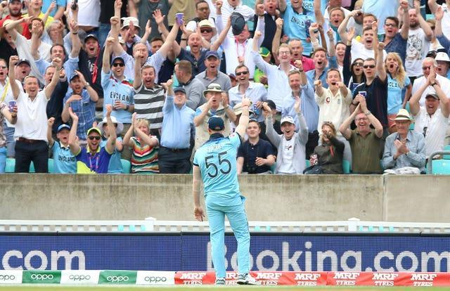 Ben Stokes celebrates his stunning catch in the opening match of the 2019 World Cup