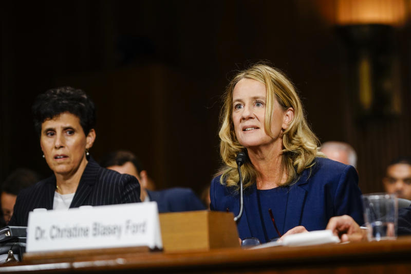 Christine Blasey Ford, with lawyer Debra S. Katz, left, answers questions at a Senate Judiciary Committee hearing on Capitol Hill. (Photo: Melina Mara-Pool/Getty Images)