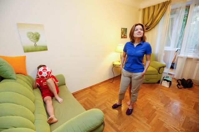 Ukrainian TV presenter Marichka Padalko shows the apartment where her family will host fans travelling to see the Champions League final game between Real Madrid and Liverpool, in Kiev, Ukraine May 10, 2018. Picture taken May 10, 2018. REUTERS/Valentyn Ogirenko