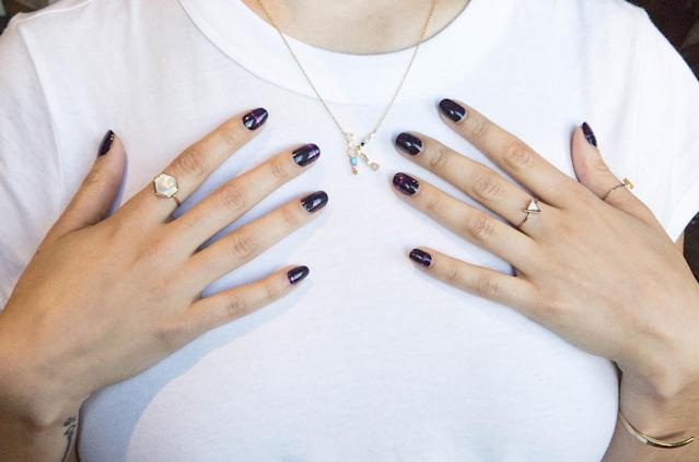 Galaxy blue nails are having a moment. (Photo: Casey Hollister for Yahoo Lifestyle)