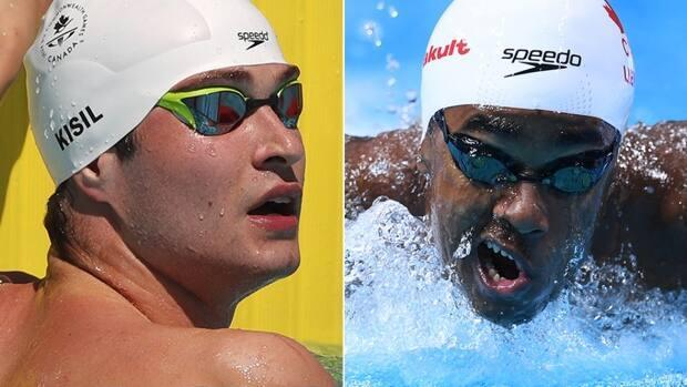 Canadians Yuri Kisil, left, and Joshua Liendo, right, have advanced to the 100-metre freestyle semifinals on Tuesday at 9:30 p.m. ET. Earlier at the Tokyo Olympics, they helped set a national record in the men's 4x100 relay final. (Reuters/Getty Images - image credit)