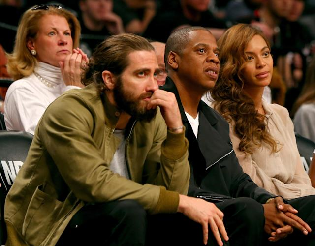 NEW YORK, NY - MAY 10: Jake Gyllenhall,Jay-Z and Beyonce attend Game Three of the Eastern Conference Semifinals during the 2014 NBA Playoffs at the Barclays Center on May 10, 2014 in the Brooklyn borough of New York City. NOTE TO USER: User expressly acknowledges and agrees that, by downloading and/or using this photograph, user is consenting to the terms and conditions of the Getty Images License Agreement. (Photo by Elsa/Getty Images)