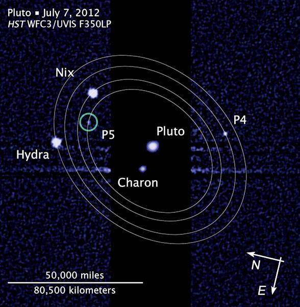 """This photo provided and annotated by NASA/Hubble Space Telescope shows the five moons in their orbits around Pluto. The smallest moons — no more than 20 miles (32 kilometers) across — were discovered in that past two years and are currently referred to as P4 and P5. Astronomers announced a contest Monday, Feb. 11, 2013 to name the two tiny moons. Twelve choices are available at the website """"plutorocks."""" (AP Photo/NASA/Hubble Space Telescope)"""