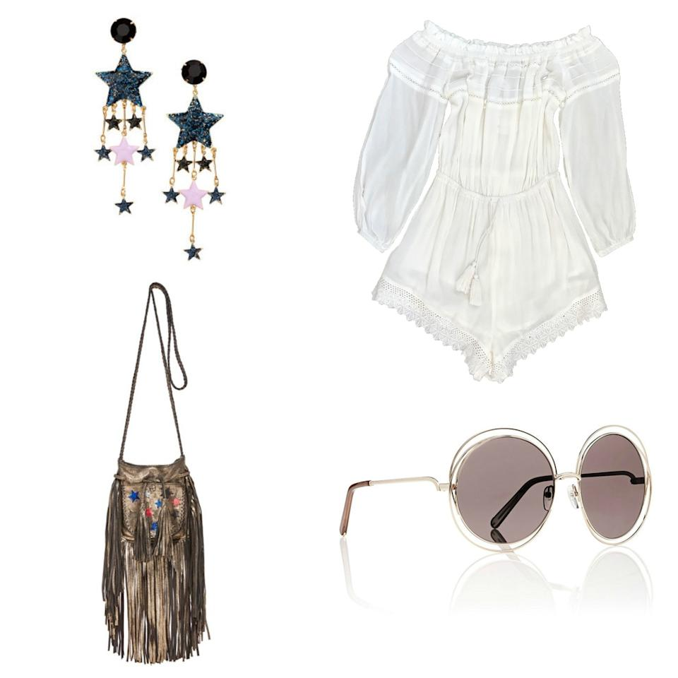 """<p>H&M earrings, <a rel=""""nofollow"""" href=""""http://www.hm.com/us/product/67315?mbid=synd_yahoostyle"""">$10</a>; White Fox romper, <a rel=""""nofollow"""" href=""""https://www.whitefoxboutique.com/clothes/dresses/mini-dresses/firefly-romper-white?mbid=synd_yahoostyle"""">$54</a>; En Shalla bag, <a rel=""""nofollow"""" href=""""https://www.shopbop.com/gold-stars-bag-en-shalla/vp/v=1/1583614945.htm; Chloé sunglasses, [$376](http:/www.barneys.com/product/chlo-c3-a9-carlina-sunglasses–505118466.html?mbid=synd_yahoostyle"""">$273</a></p>"""