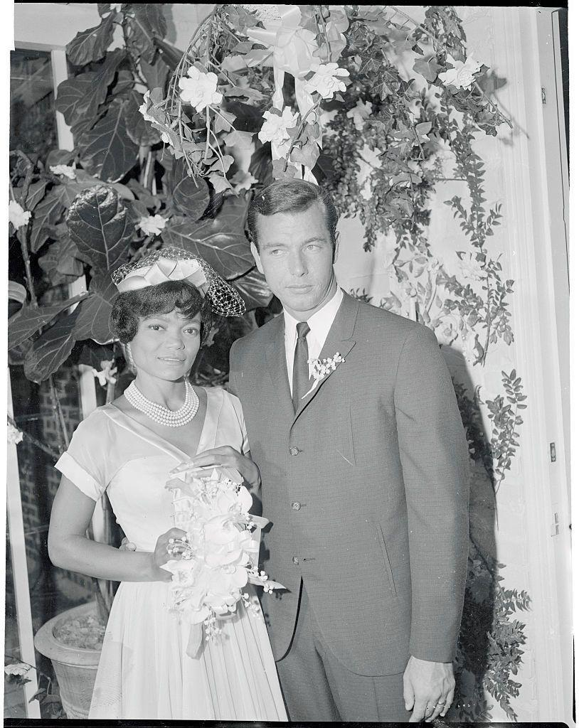 <p>Eartha Kitt exchanged vows with real estate executive William McDonald in an intimate ceremony at her home. The singer wore a custom satin shirtdress and matching hat. The couple were married for four years and had one daughter together before their separation in 1964. </p>
