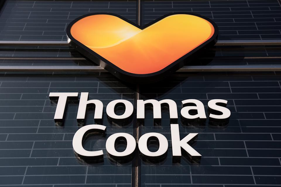 """A closed-down branch of the global travel group Thomas Cook is pictured three days after the company filed for bankruptcy, in Peterborough, central England on September 26, 2019. - """"Most of us in Peterborough know somebody who works for Thomas Cook,"""" said Phil Dobbs, a human resources manager who works in the city that is home to the collapsed travel firm. The city of Peterborough has rushed this week to help the 1,000 local staff who lost their jobs in the early hours of Monday when Thomas Cook filed for bankruptcy. (Photo by OLI SCARFF / AFP) (Photo by OLI SCARFF/AFP via Getty Images)"""