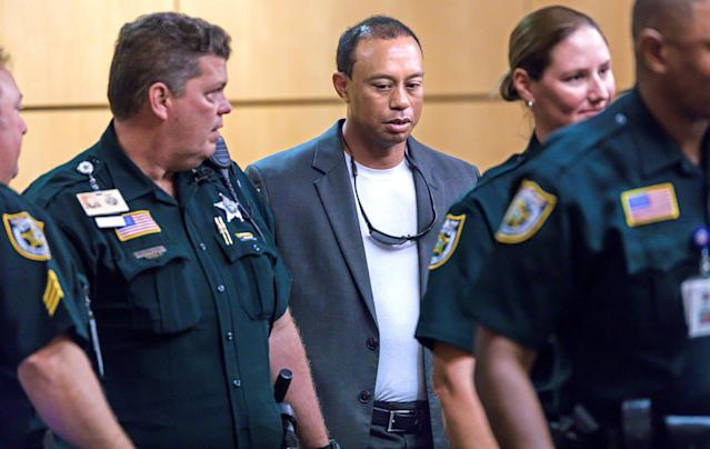 Tiger Woods in Palm Beach County court in October 2017. He pleaded guilty to a charge of reckless driving in connection with his arrest for driving under the influence. (Lannis Waters/Reuters)
