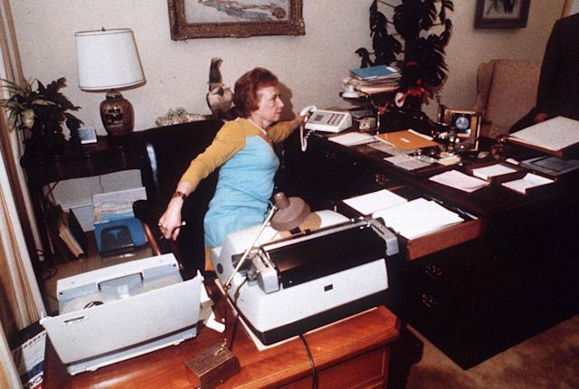 "<p>Rose Mary Woods, President Richard Nixon's secretary, is shown at her White House desk in 1973, demonstrating the ""Rose Mary Stretch,"" which could have resulted in the erasure of part of the Watergate tapes. (Photo: AP) </p>"