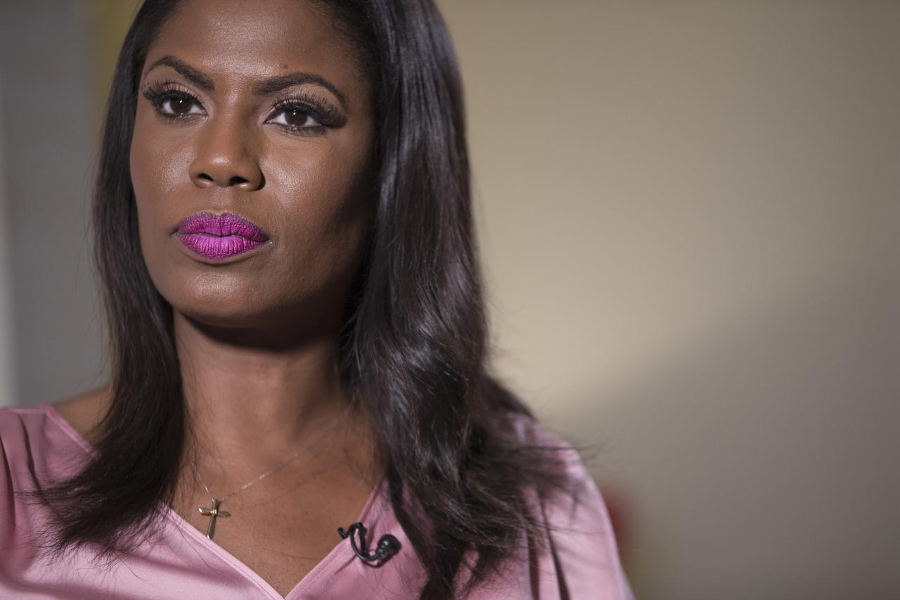 Television personality and former White House staffer Omarosa Manigault Newman listens during an interview with The Associated Press, Tuesday, Aug. 14, 2018, in New York. (AP Photo/Mary Altaffer)