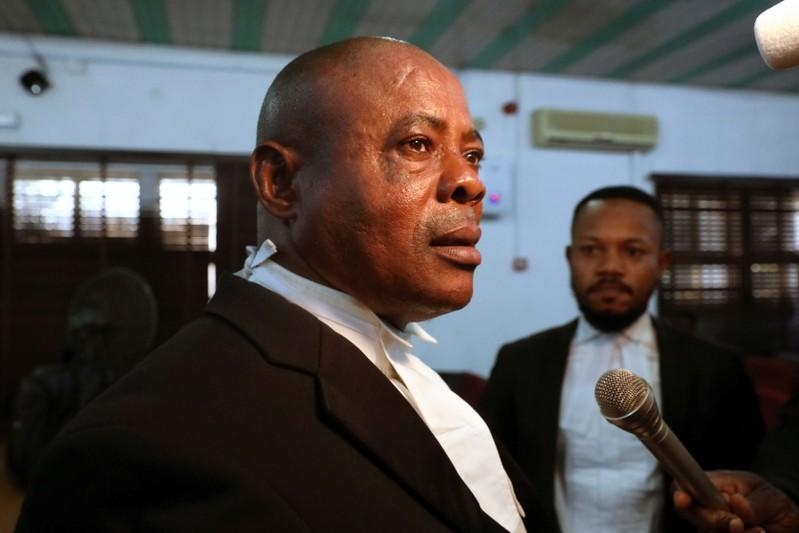 Barrister Eboseremen, Prosecuting lawyer for the homosexuality case, speaks with Reuters in an interview at the Federal High Court in Lagos