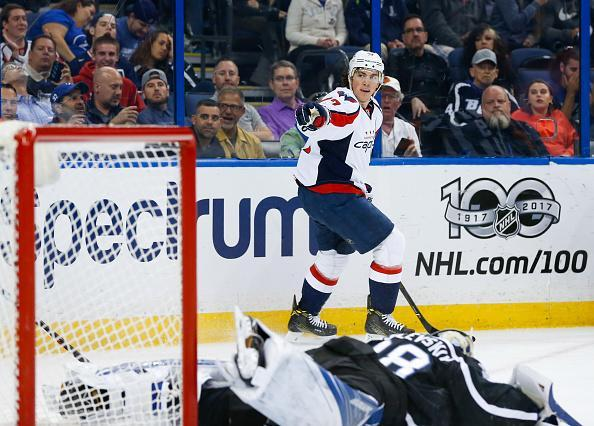 TAMPA, FL – MARCH 18: T.J. Oshie #77 of the Washington Capitals celebrates a goal against goalie Andrei Vasilevskiy #88 of the Tampa Bay Lightning during the first period at Amalie Arena on March 18, 2017 in Tampa, Florida. (Photo by Mark LoMoglio/NHLI via Getty Images)