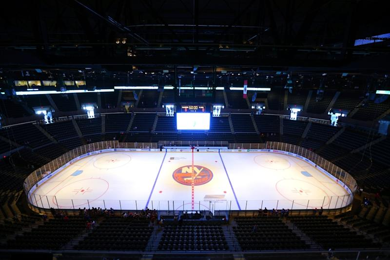 General view of Nassau Coliseum with Islanders logo at center ice