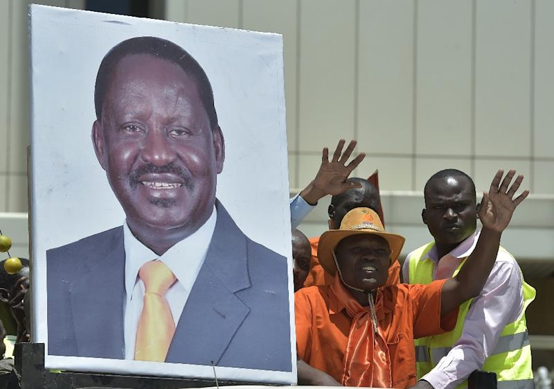 Supporters of presidential candidate Raila Odinga rally in Kenya's capital Nairobi (AFP Photo/SIMON MAINA)
