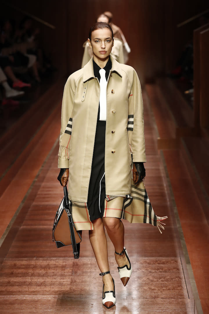 <p>Model Irina Shayk joined the star-studded model lineup at the AW19 Burberry show. <em>[Photo: Getty]</em> </p>