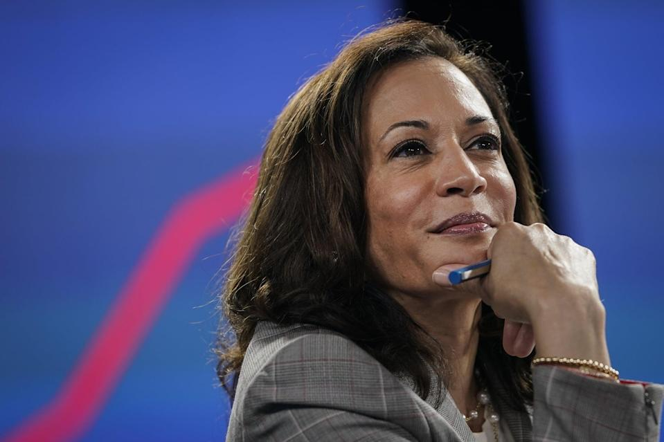 WILMINGTON, DE - AUGUST 13: Sen. Kamala Harris (D-CA), running mate of Presumptive Democratic presidential nominee former Vice President Joe Biden, attends a coronavirus briefing at a makeshift studio at the Hotel DuPont on August 13, 2020 in Wilmington, Delaware. Harris is the first Black woman and first person of Indian descent to be a presumptive nominee on a presidential ticket by a major party in U.S. history. (Photo by Drew Angerer/Getty Images)