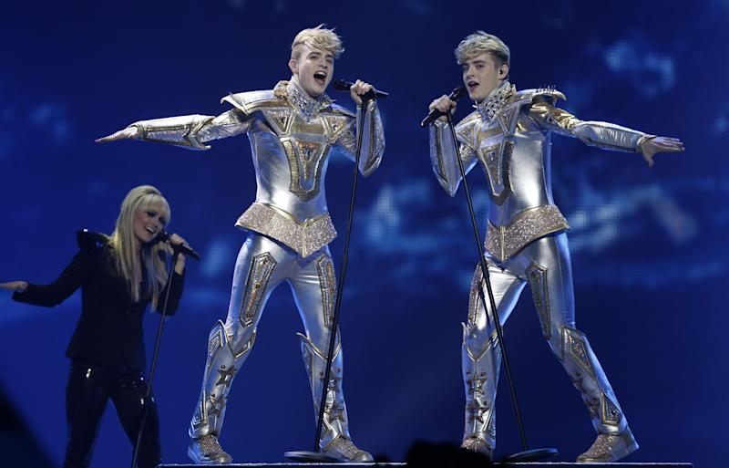 Ireland's Jedward perform during the 1st semifinal 2012 Eurovision Song Contest at the Baku Crystal Hall in Baku, Tuesday, May 22, 2012. The finals of the 2012 Eurovision Song Contest will be held at the stadium on May 26, 2012. (AP Photo/Sergey Ponomarev)