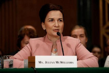 Jelena McWilliams, nominee to be chairperson of the Federal Deposit Insurance Corporation, speaks during a Senate Banking Committee hearing on Capitol Hill in Washington