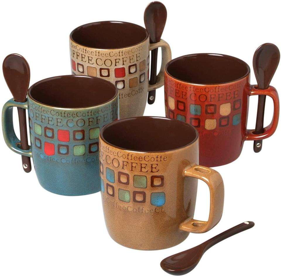 <p>This <span>Mr. Coffee Mug Set</span> ($26 for eight, originally $30) conveniently comes with small spoons, so you can easily add in sugar or honey to sweeten your beverage just how you like it. We like the artisanal look and color palette of each design.</p>