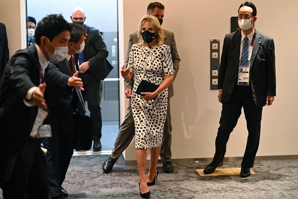 First lady of the United States Jill Biden arrives for the opening ceremony in the Olympic Stadium at the 2020 Summer Olympics, Friday, July 23, 2021, in Tokyo, Japan. - Credit: AP