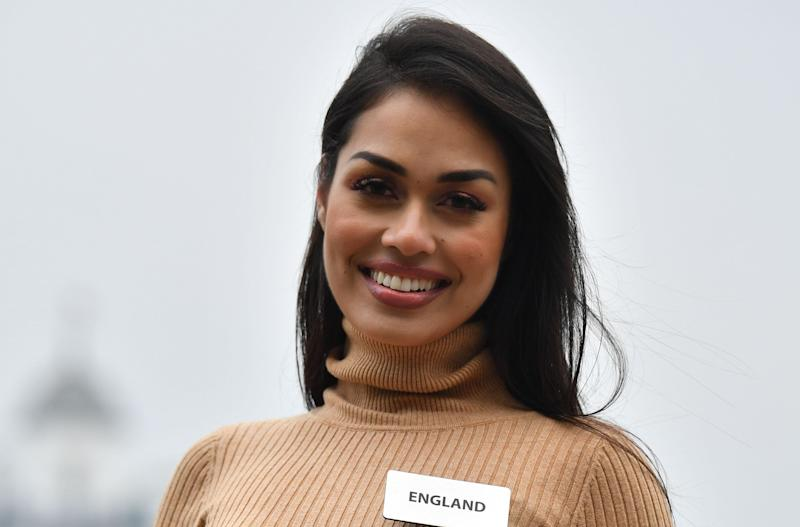 Bhasha Mukherjee at a photo call for the 69th Miss World festival and final in London on Nov. 21. (Photo: BEN STANSALL via Getty Images)