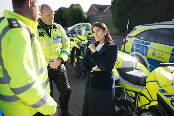 Home Secretary Priti Patel during a visit to Kent Police College in Maidstone, as part of an announcement on police recruitment following previous government pledges to bring in thousands more officers. PA Photo. Picture date: Wednesday October 9, 2019. Police recruitment targets for every force in England and Wales have been announced by the government as part of its pledge to hire 20,000 new officers. In the first wave of the roll-out, the Home Office will provide £750 million to support the 43 forces to recruit up to 6,000 new officers by the end of 2020-21. See PA story POLITICS Policing. Photo credit should read: Stefan Rousseau/PA Wire
