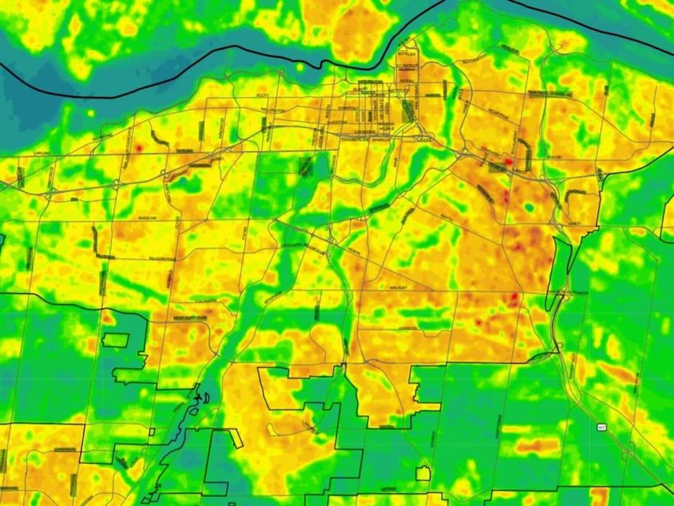 The City of Ottawa and Ottawa Public Health produced this heat map using satellite images captured on July 18, 2019. The temperature neared 28 C that day, but in certain parts of the city it was much hotter. (City of Ottawa - image credit)