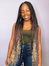 We love the ombre effect on these Rapunzel-length medium-sized box braids.