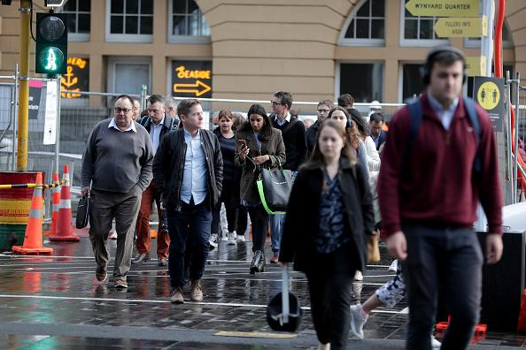 Commuters arrive in the Auckland CBD in Auckland, New Zealand.
