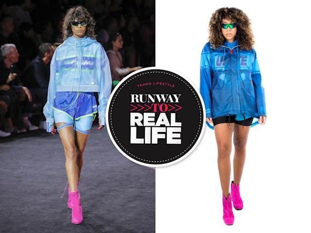 Fenty x Puma SS18 runway look, left, and Yahoo Lifestyle's real-life version. (Photo: Getty Images, Priscilla de Castro)