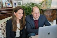 <p>Kate paired a blazer with a cream top and subtle jewelry for a video call with Ulster University nursing students.</p>
