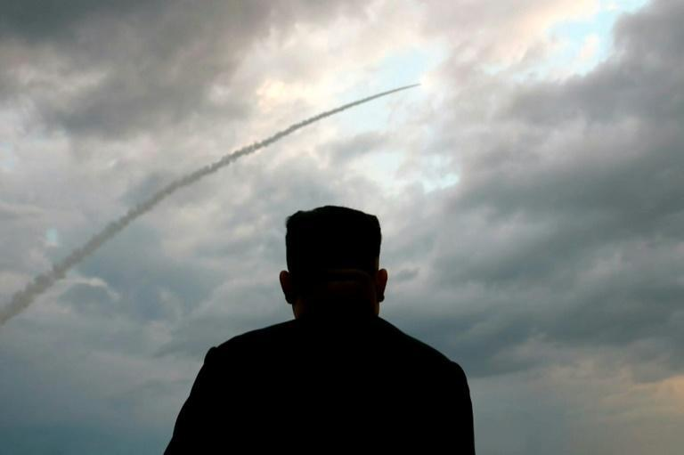 North Korean leader Kim Jong Un seen on state television watching the launch of a ballistic missile in January 2019