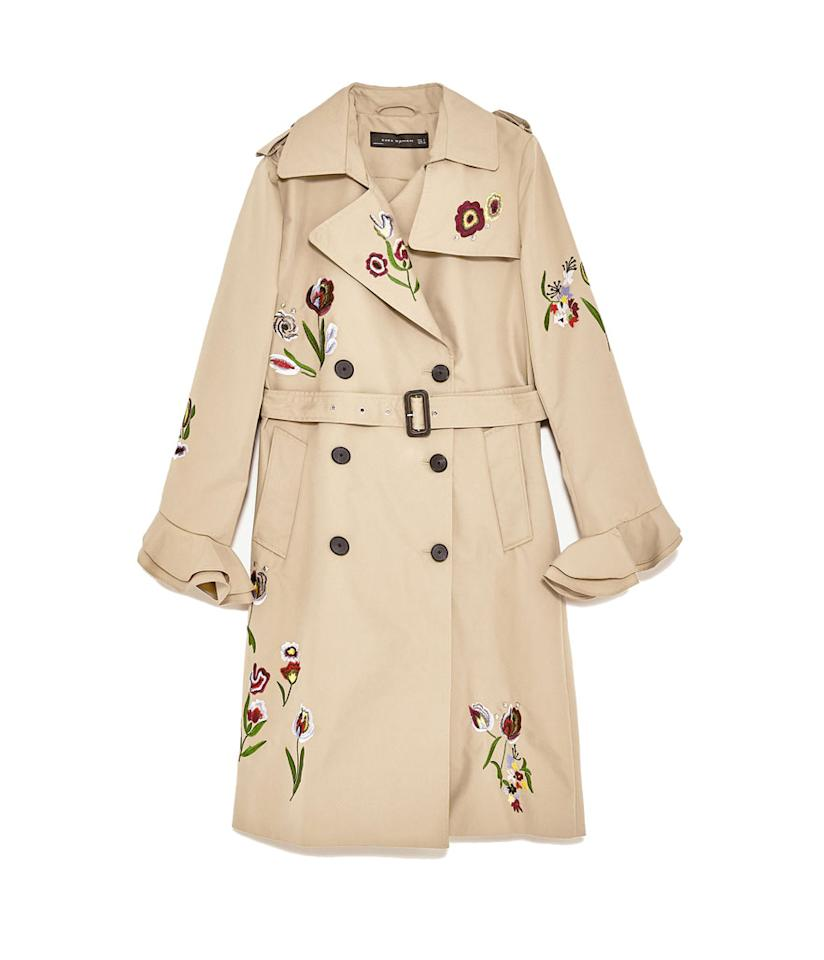 "<p>Embroidered Trench Coat, $189,<a rel=""nofollow"" href=""https://www.zara.com/us/en/woman/outerwear/view-all/embroidered-trench-coat-c719012p4224518.html""> zara.com</a> </p>"