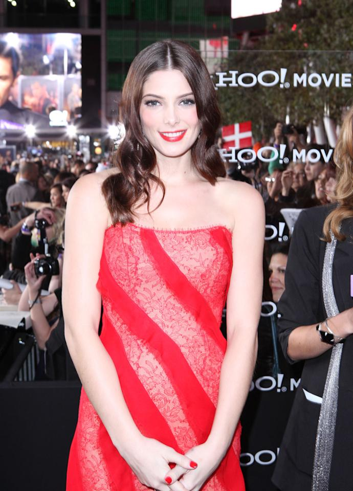 "Ashley Greene is interviewed by Yahoo! Movies at the red carpet premiere for ""The Twilight Saga: Breaking Dawn – Part 1"" in Los Angeles, CA. (Photo by Nelson Balanton/Yahoo!)"