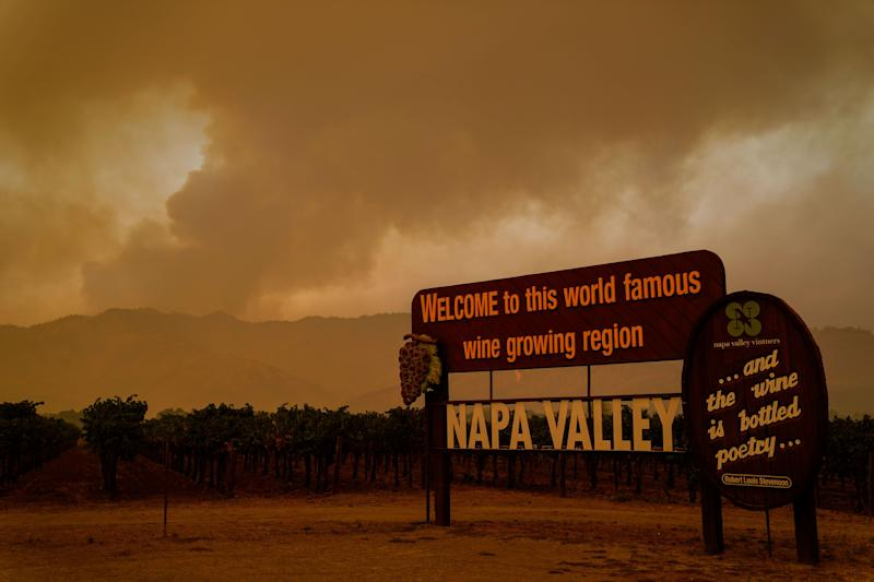 The Glass fire is seenalong CA-128 on Wednesday.