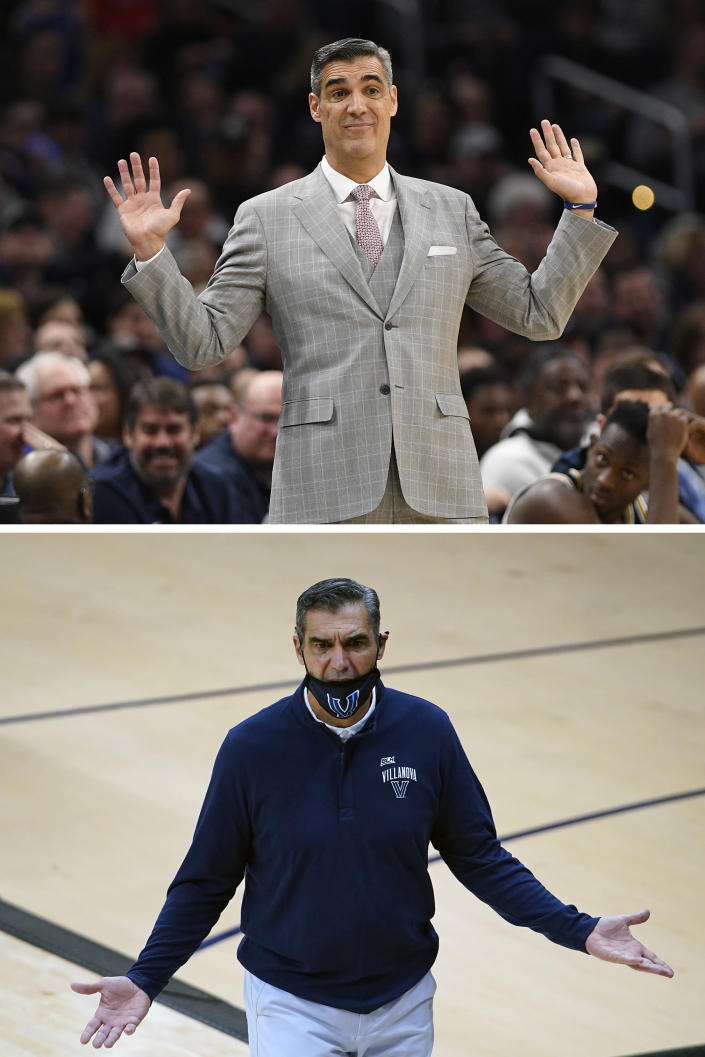 FILE - Top, in a March 7, 2020, file photo, Villanova head coach Jay Wright gestures during the second half of an NCAA college basketball game against Georgetown in Washington. Bottom, in a Dec. 16, 2020, file photo, Villanova's coach Wright coaches during an NCAA college basketball game against Butler in Villanova, Pa. College basketball coaches have eschewed the traditional game day attire of coats, ties and dress slacks in favor of polos, quarter-zips and warmup pants. The trend started over the summer with NBA coaches who went casual when the league re-started its season at Walt Disney World resort near Orlando. Men's and women's coaches say they're more comfortable. The personal tailor for Villanova's Jay Wright says he doesn't like the change. (AP Photo/File)