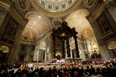A general view of the Easter vigil Mass led by Pope Francis in Saint Peter's Basilica at the Vatican, April 20,2019. REUTERS/Remo Casilli