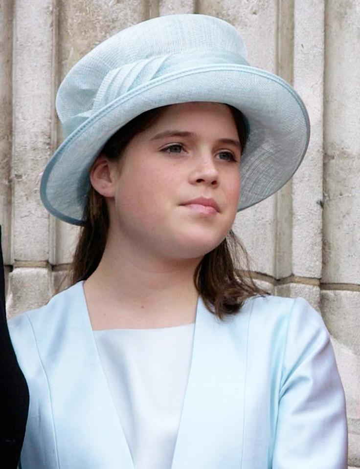 <p>Queen Elizabeth's granddaughter started her love of eye-catching headpieces early. Here she is at the 2002 Trooping the Colour celebrations with a light blue topper that perfectly matches her dress.</p>