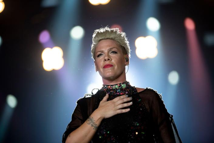 US singer Pink performs during Rock in Rio festival at the Olympic Park in Rio de Janeiro, Brazil, on October 5, 2019. - The week-long Rock in Rio festival started September 27, with international stars as headliners, over 700,000 spectators and social actions including the preservation of the Amazon. (Photo by MAURO PIMENTEL / AFP) (Photo by MAURO PIMENTEL/AFP via Getty Images)